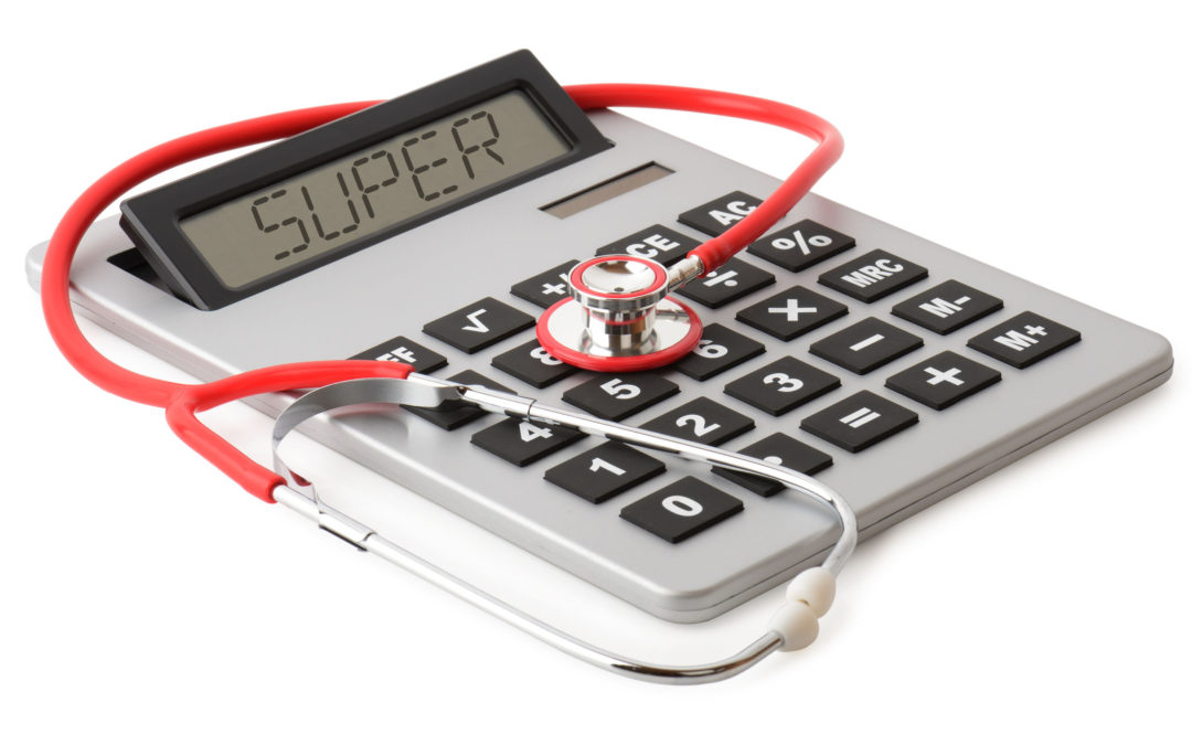 A stethescope checking super health on a calculator